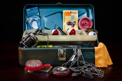 fishing tools in a box