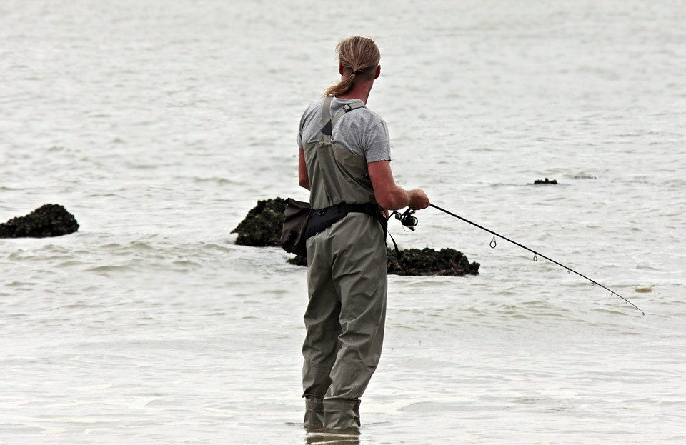man using a fishing rod
