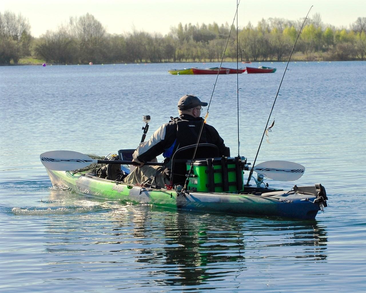 man on a fishing kayak